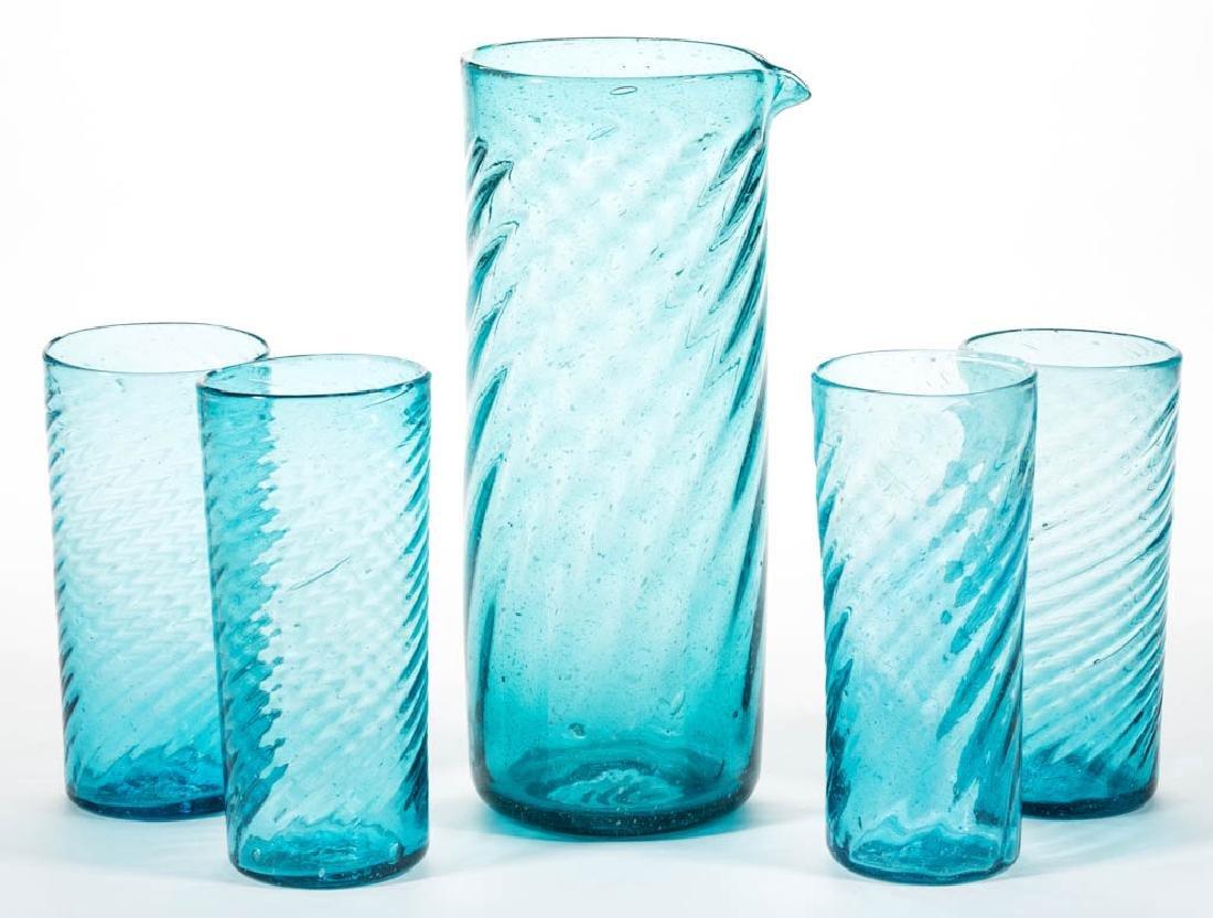 BLENKO SWIRL GLASS FIVE-PIECE HIBALL SET