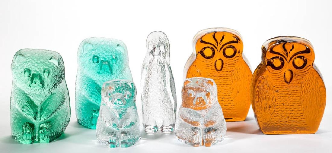 BLENKO FIGURAL GLASS BOOKENDS, LOT OF SEVEN