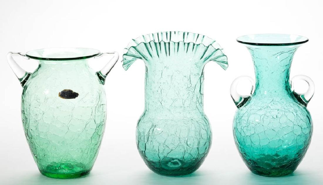 BLENKO CRACKLE GLASS VASES, LOT OF THREE