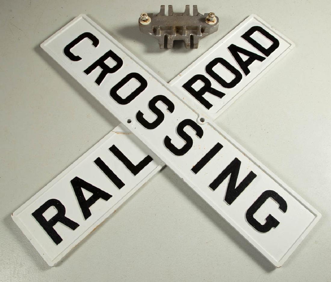 "CAST-IRON ""RAILROAD CROSSING"" RAILROAD SIGN, TWO PIECE"