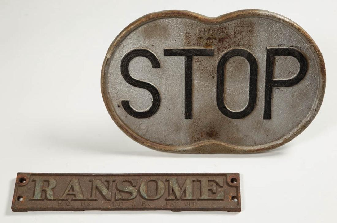 ASSORTED CAST-IRON SIGNS, LOT OF TWO