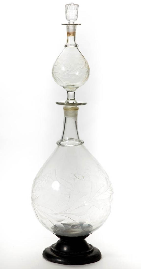 FREE-BLOWN, CUT, AND ENGRAVED APOTHECARY SHOW GLOBE