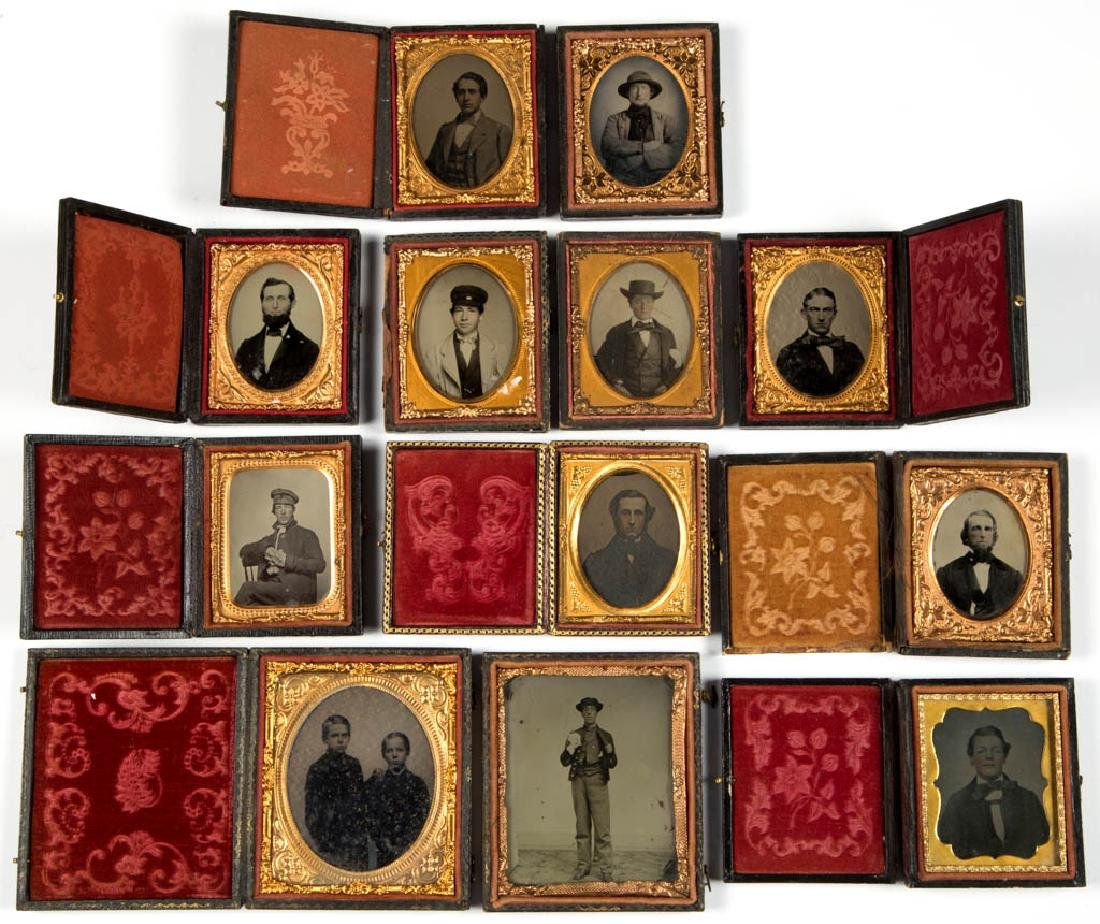 ASSORTED CASED PHOTOGRAPHIC IMAGES, LOT OF 12