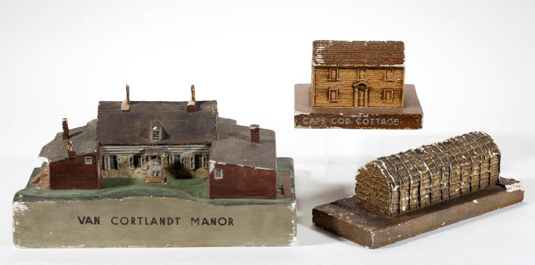 ASSORTED WPA PLASTER BUILDING MODELS, LOT OF THREE