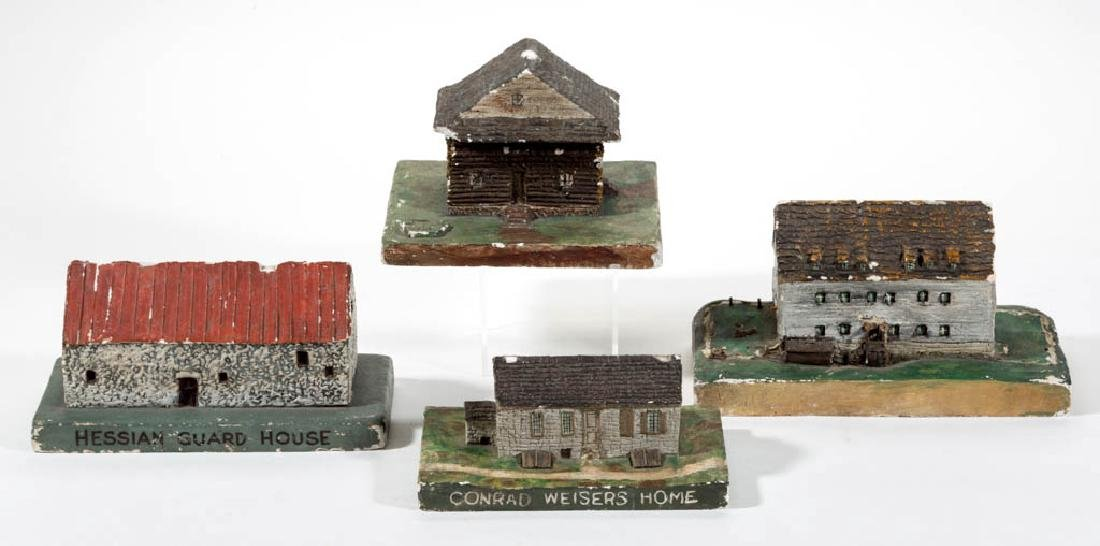 ASSORTED WPA PLASTER BUILDING MODELS, LOT OF FOUR