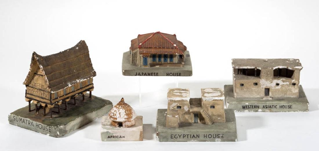 ASSORTED WPA PLASTER BUILDING MODELS, LOT OF FIVE