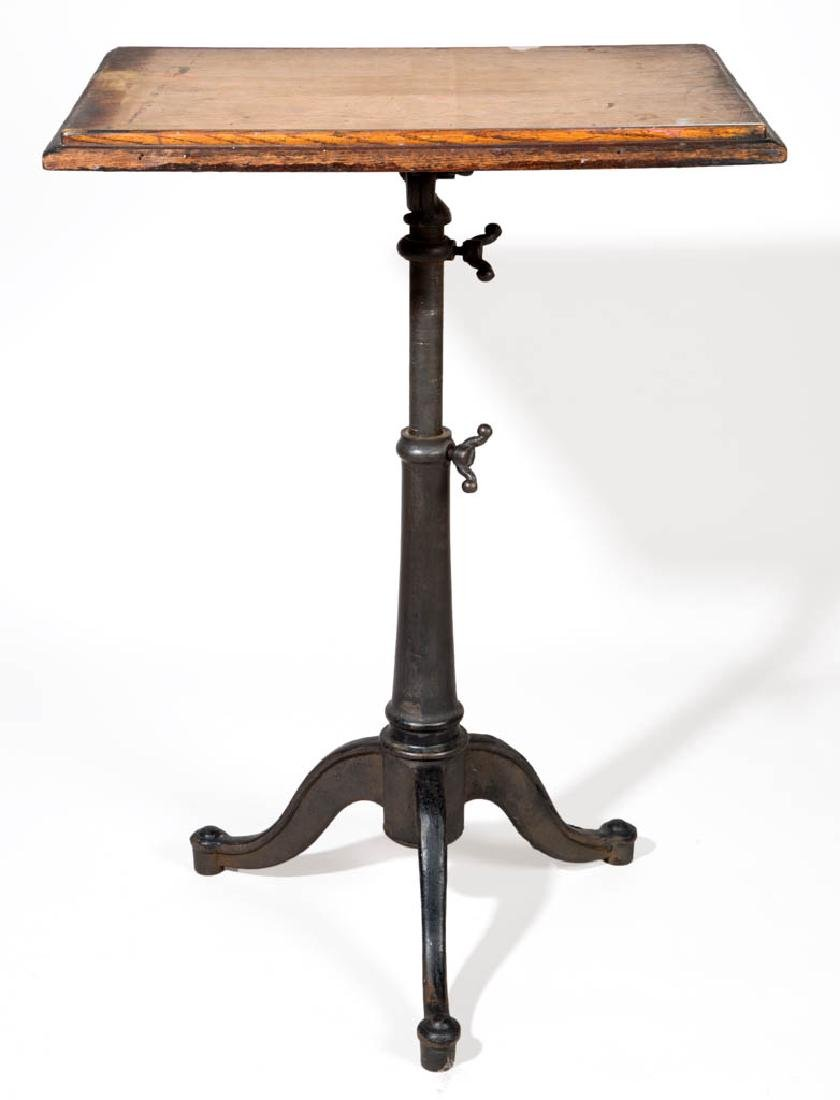 AMERICAN OAK AND CAST-IRON DRAFTING TABLE