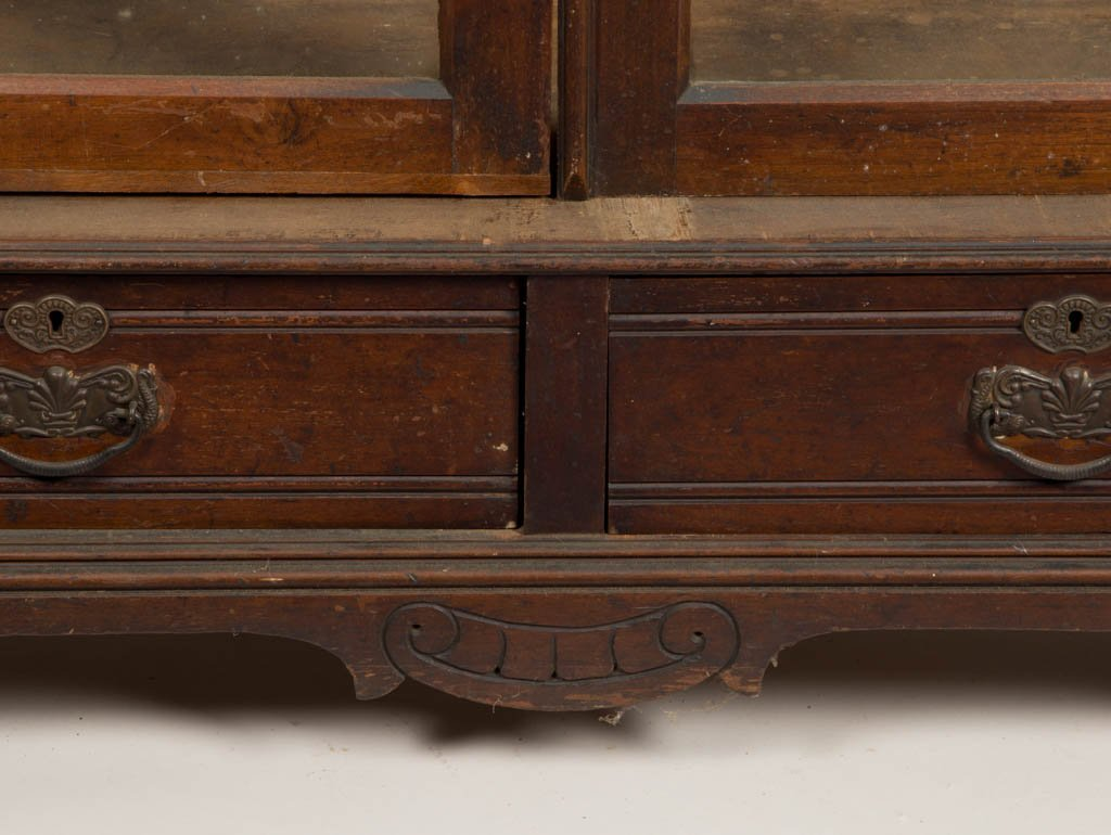 AMERICAN VICTORIAN CARVED WALNUT BOOKCASE - 3