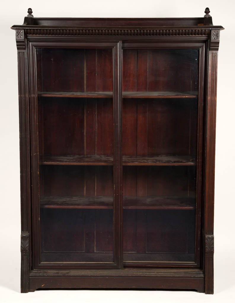 AMERICAN VICTORIAN CARVED CHERRY BOOKCASE