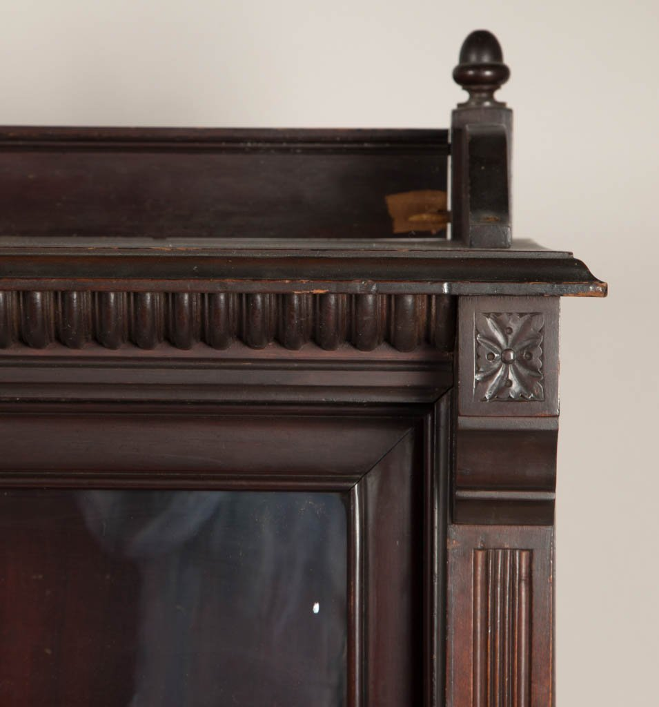 AMERICAN VICTORIAN CARVED CHERRY BOOKCASE - 2