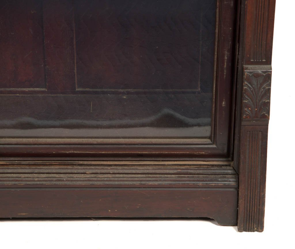 AMERICAN VICTORIAN CARVED CHERRY BOOKCASE - 3