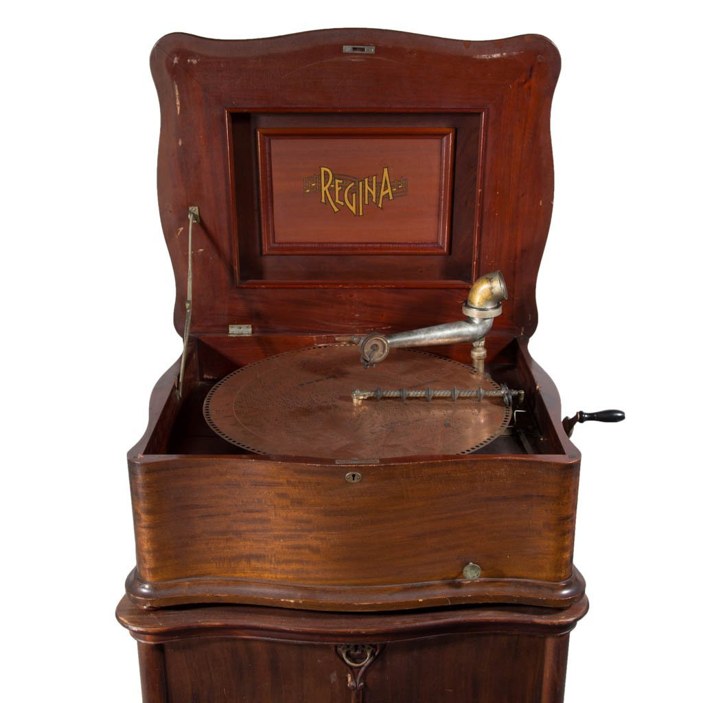 RARE REGINA MAHOGANY CASE DUAL PLAYER CONSOLE MUSIC BOX
