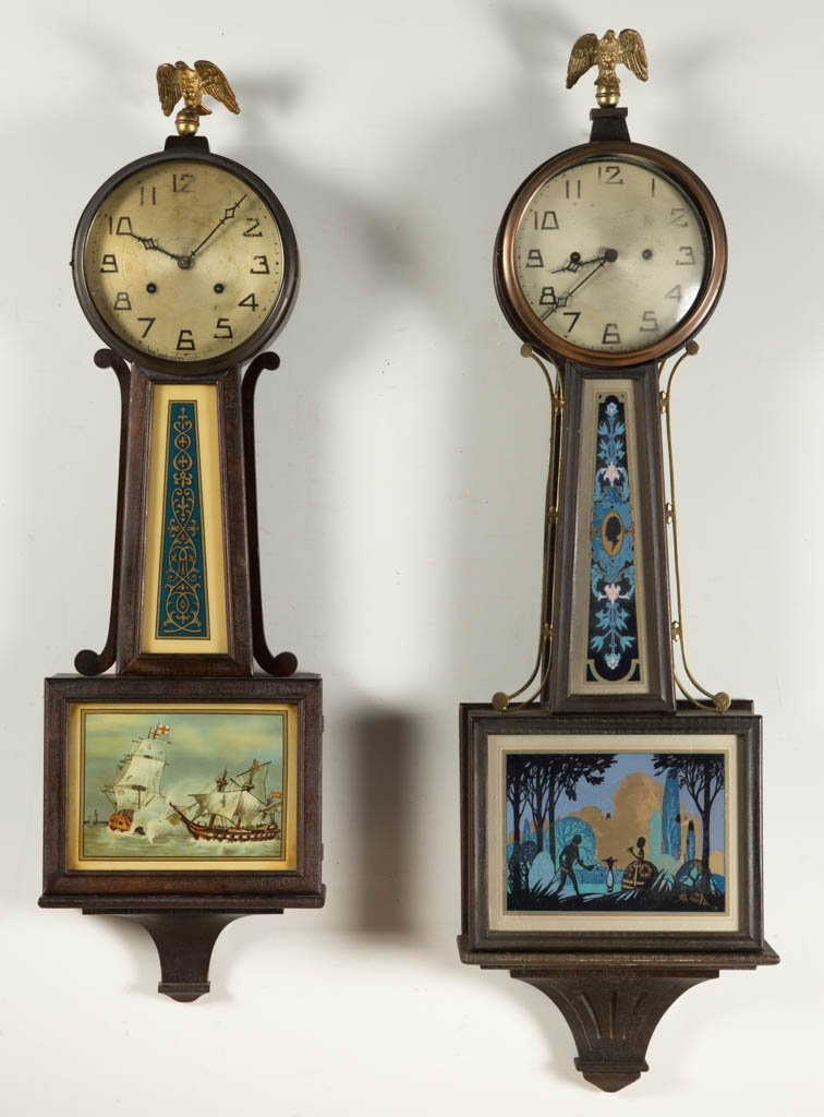 NEW HAVEN CLOCK CO. BANJO CLOCKS, LOT OF TWO