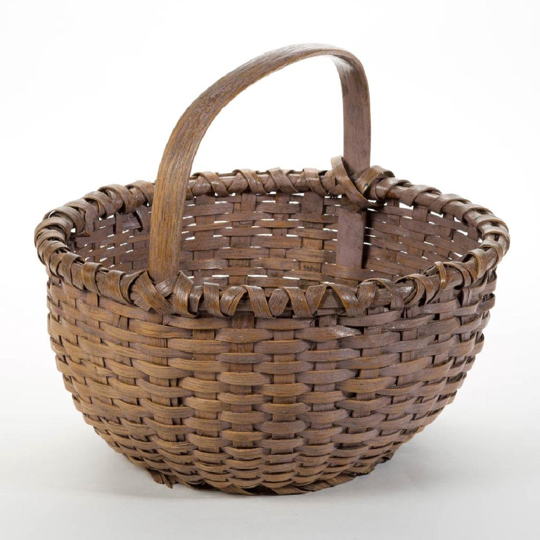 VIRGINIA PAINTED STAVE-TYPE WOVEN-SPLINT WORK BASKET - 2