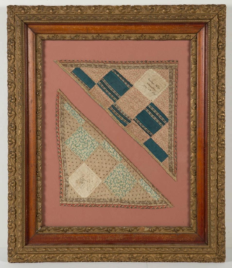 NEW JERSEY INSCRIBED PIECED QUILT FRAGMENTS