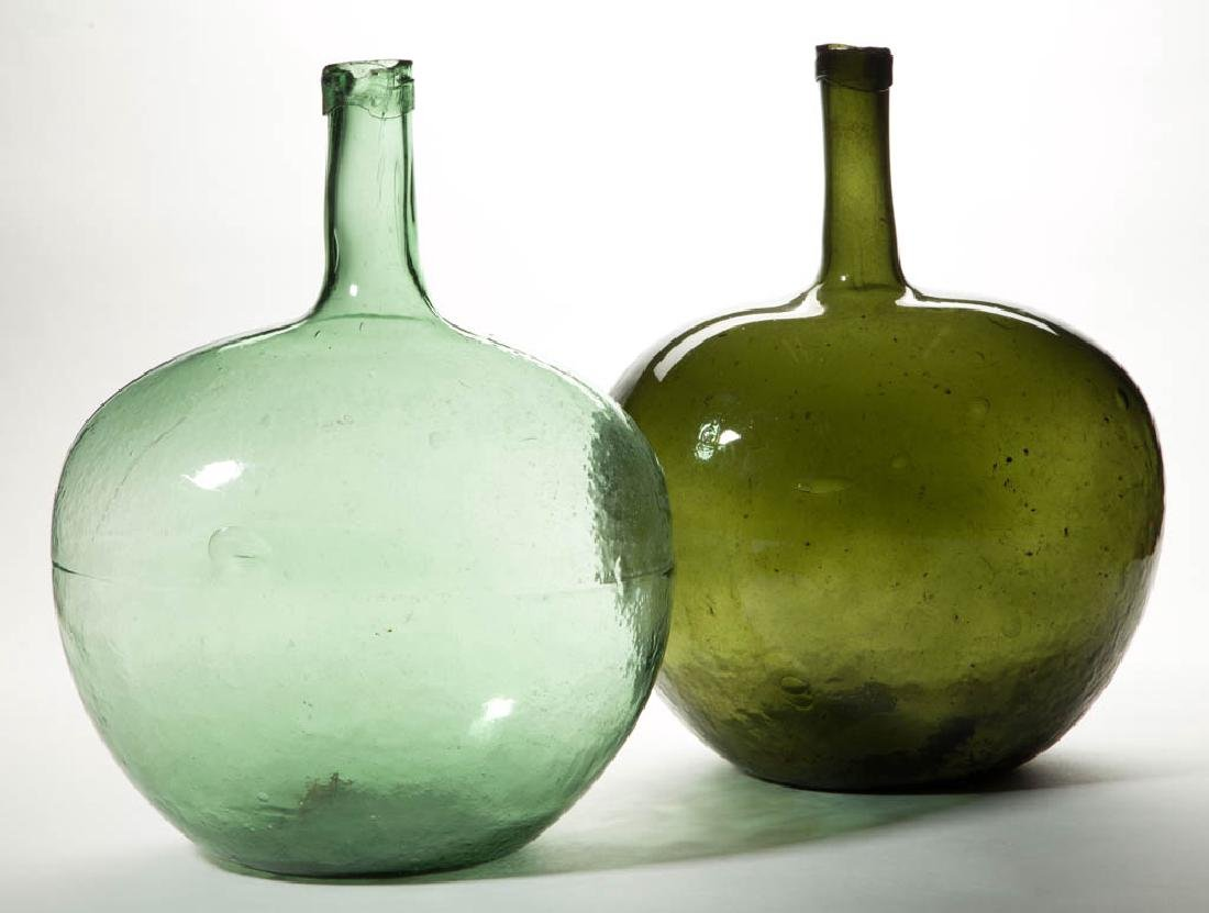 BLOWN-MOLDED GLASS DEMIJOHNS, LOT OF TWO