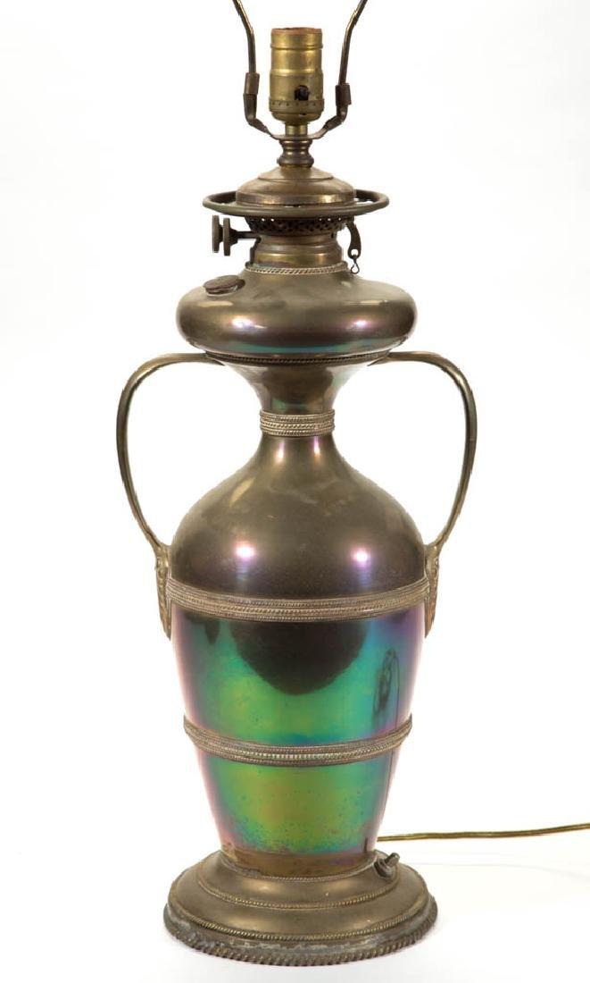 BRASS BRADLEY & HUBBARD ELECTRIFIED KEROSENE LAMP