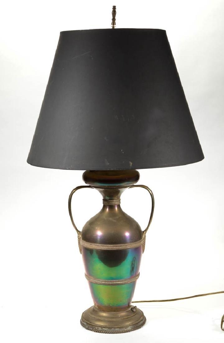 BRASS BRADLEY & HUBBARD ELECTRIFIED KEROSENE LAMP - 2