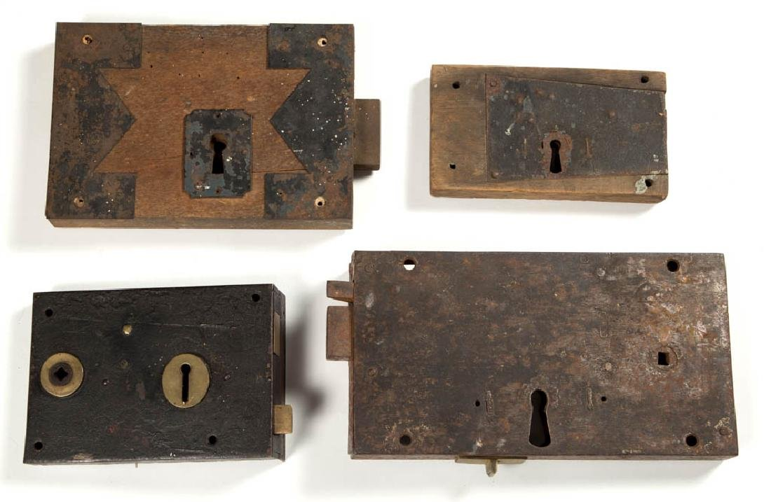 ASSORTED WOOD AND METAL LARGE BOX LOCKS, LOT OF FOUR