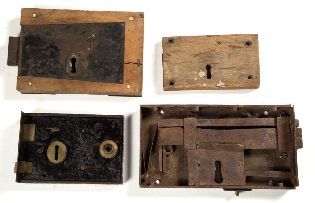 ASSORTED WOOD AND METAL LARGE BOX LOCKS, LOT OF FOUR - 2