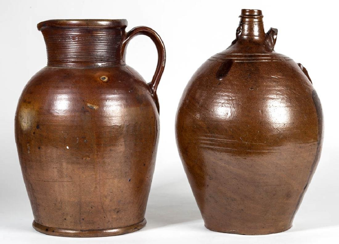 ENGLISH BROWN STONEWARE ARTICLES, LOT OF TWO