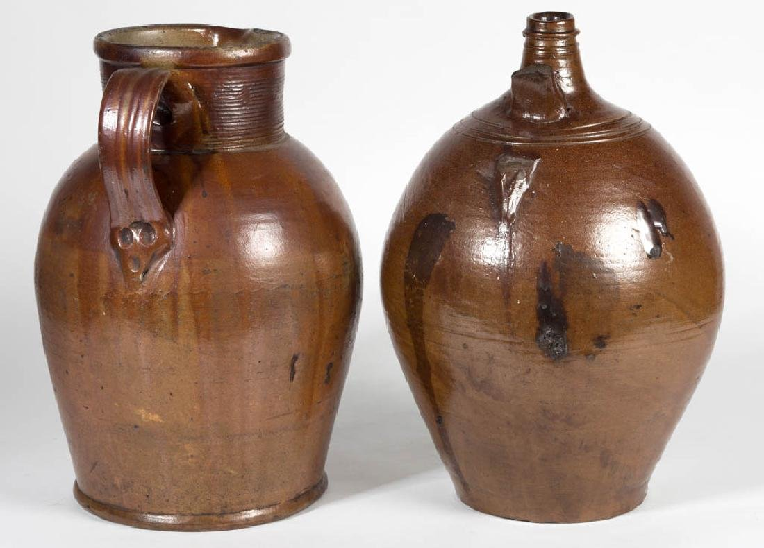 ENGLISH BROWN STONEWARE ARTICLES, LOT OF TWO - 2