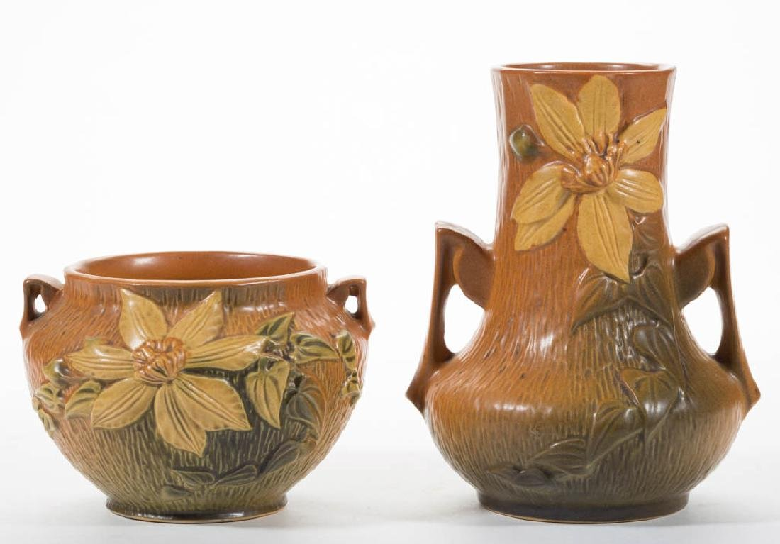 ROSEVILLE CLEMATIS ART POTTERY VASES, LOT OF TWO