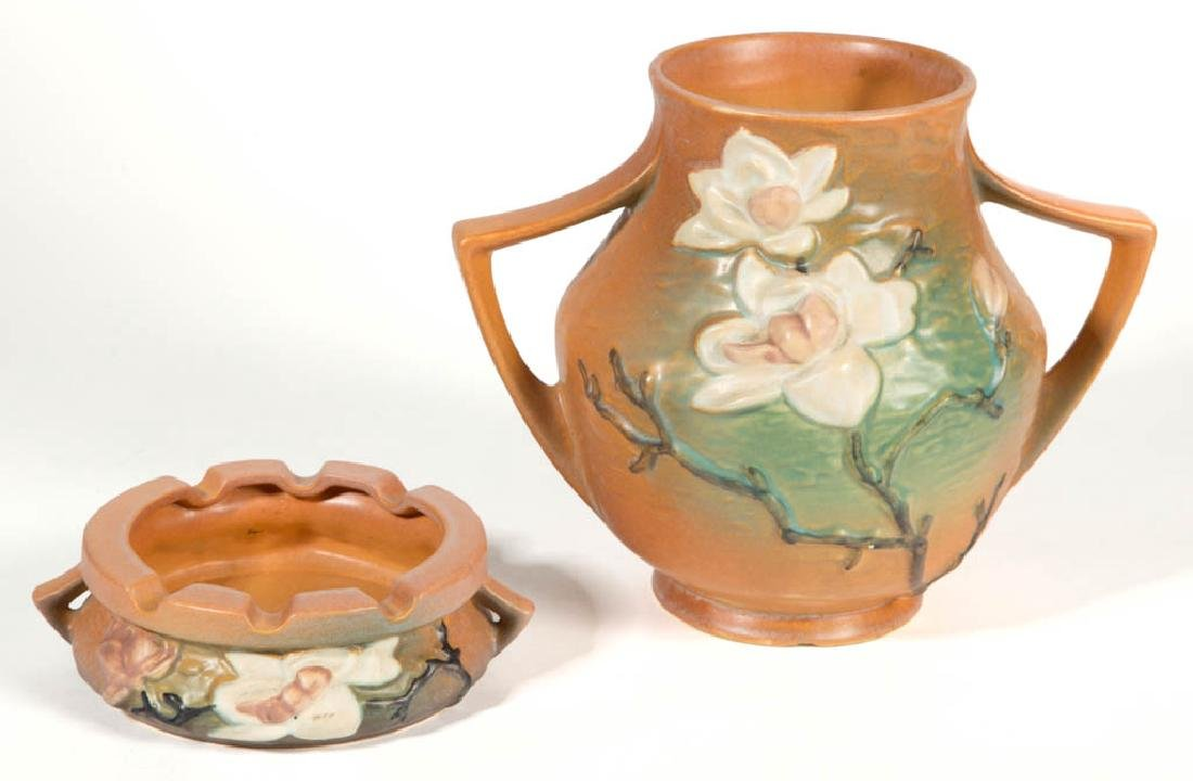 ROSEVILLE MAGNOLIA ART POTTERY ARTICLES, LOT OF TWO