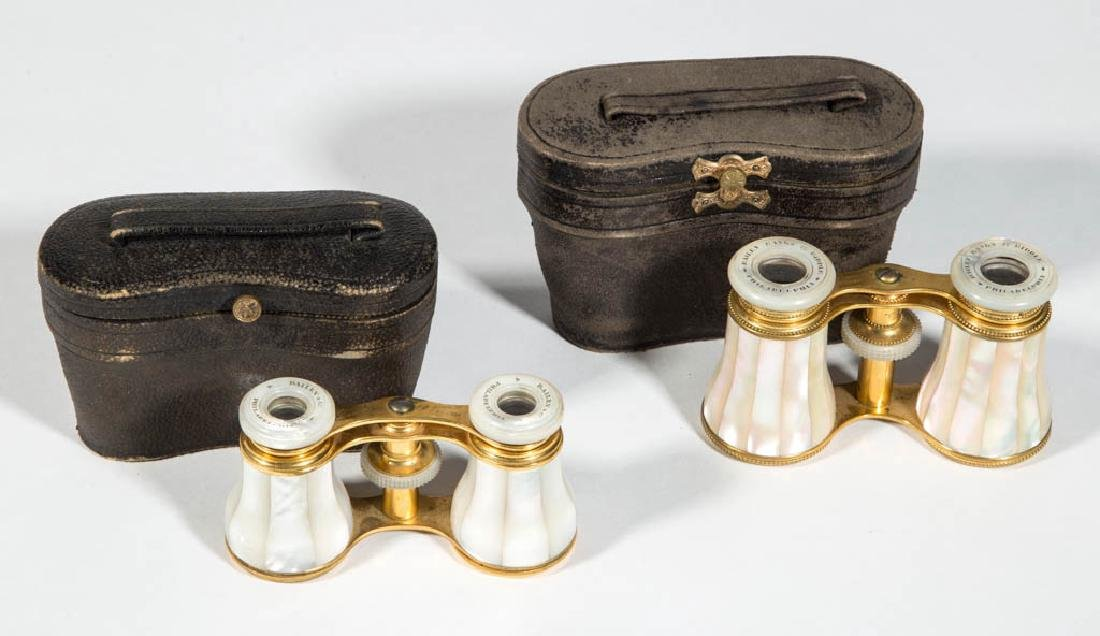 "FRENCH BRASS AND MOTHER-OF-PEARL ""BAILEY"" OPERA GLASSES"