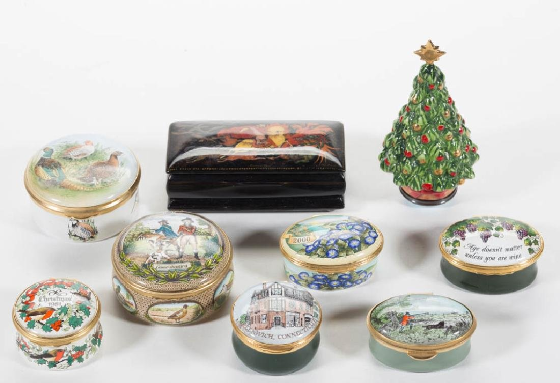 ASSORTED ENGLISH ENAMEL BOXES, LOT OF EIGHT