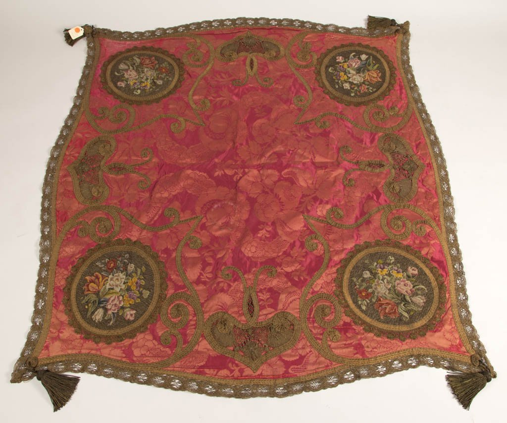 VICTORIAN SILK EMBROIDERED TABLE COVER / THROW