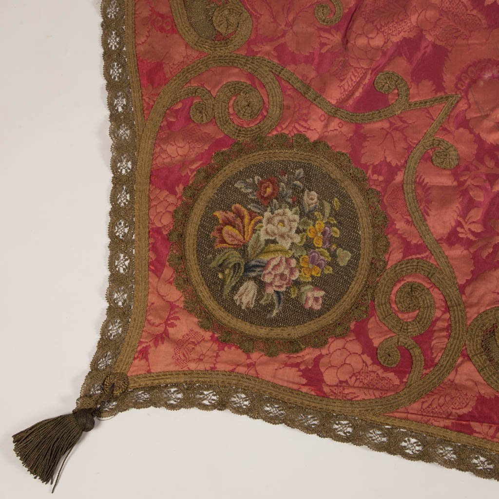VICTORIAN SILK EMBROIDERED TABLE COVER / THROW - 2