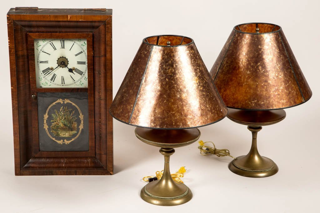 ASSORTED DECORATIVE CLOCK AND LAMPS, LOT OF THREE