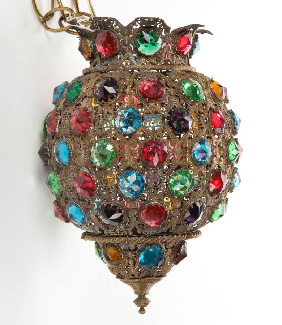 BRASS JEWELED HANGING HALL LAMP