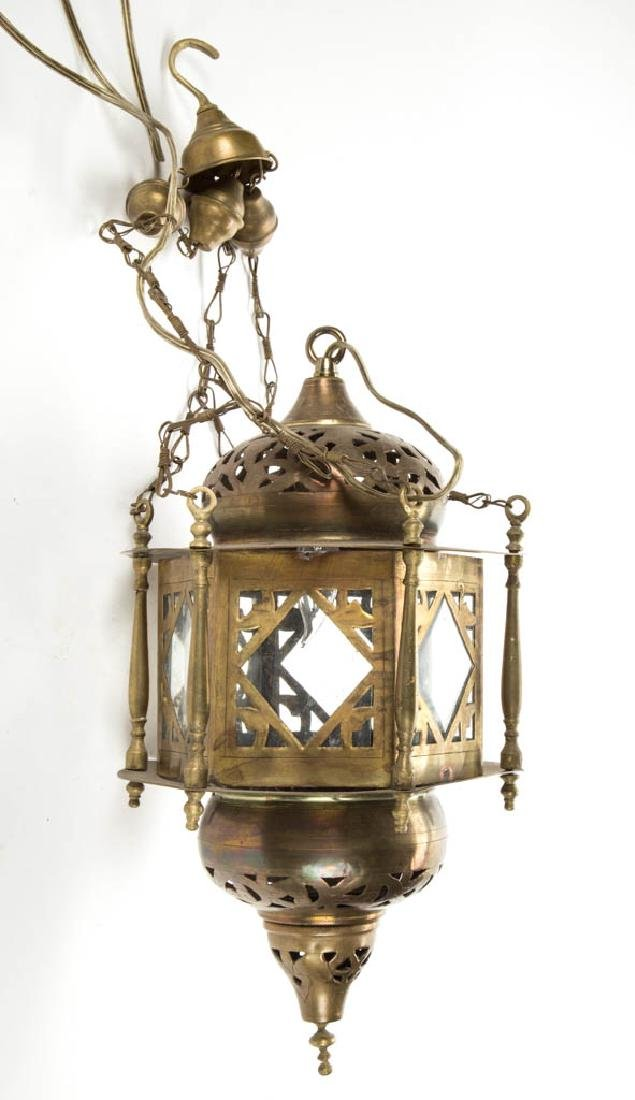 BRASS HANGING HALL ELECTRIC LAMP