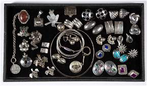 VINTAGE MEXICAN STERLING SILVER COSTUME JEWELRY, LOT OF