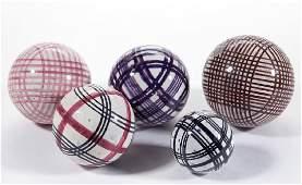 ENGLISH DECORATED CERAMIC CARPET BALLS, LOT OF FIVE