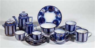 ENGLISH FLOW BLUE LUSTRE CERAMIC TEA ARTICLES, LOT OF