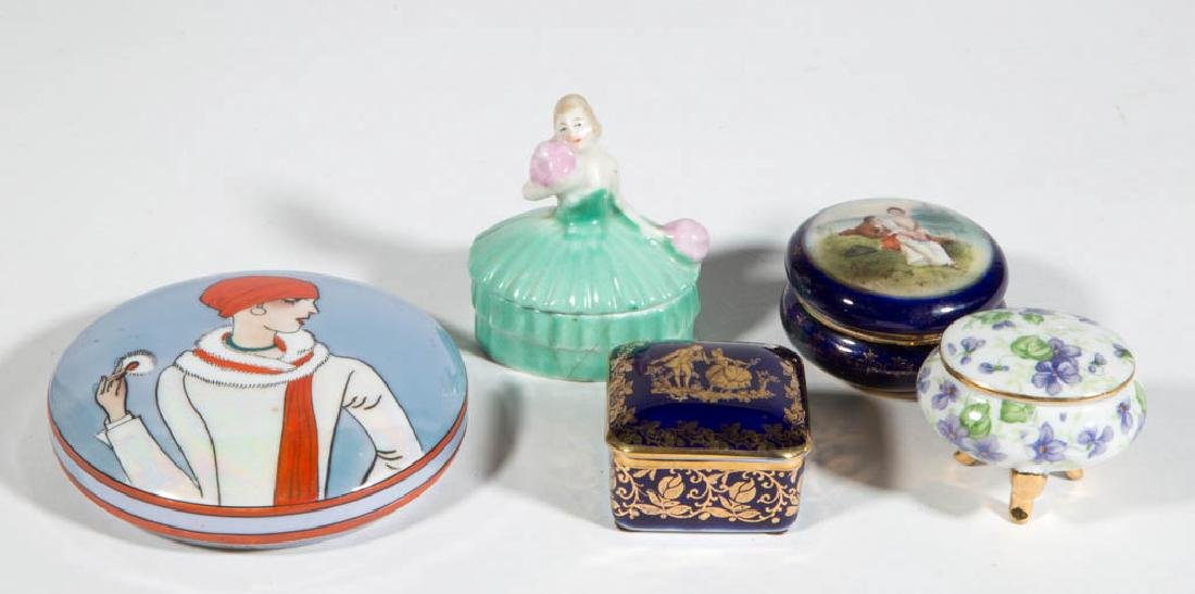 ASSORTED CERAMIC COVERED CONTAINERS, LOT OF FIVE
