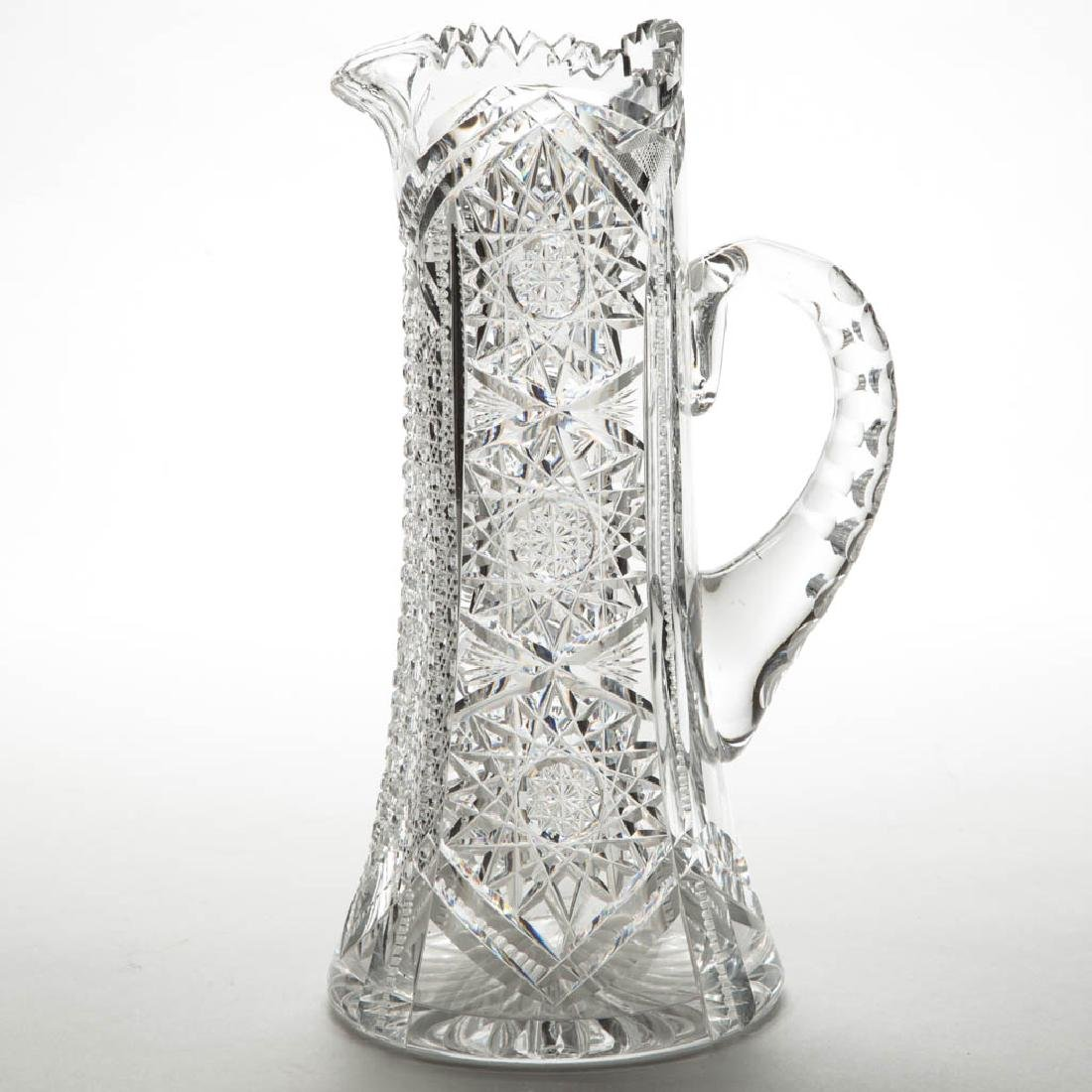 AMERICAN BRILLIANT CUT GLASS TANKARD CHAMPAGNE PITCHER