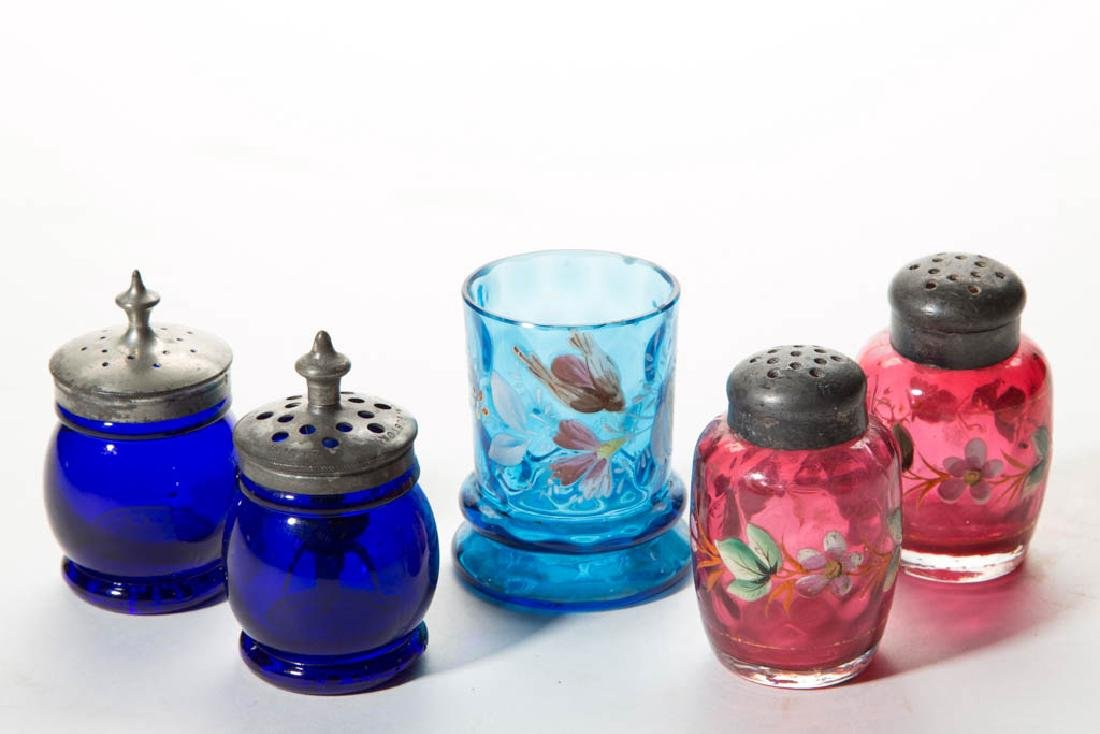 ASSORTED VICTORIAN COLORED GLASS CONDIMENT ARTICLES,
