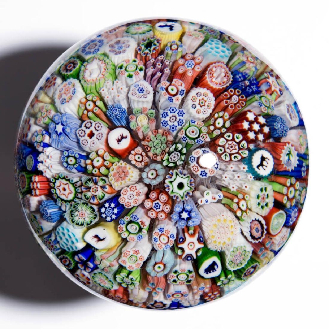 ANTIQUE BACCARAT MILLEFIORI AND SILHOUETTE PAPERWEIGHT