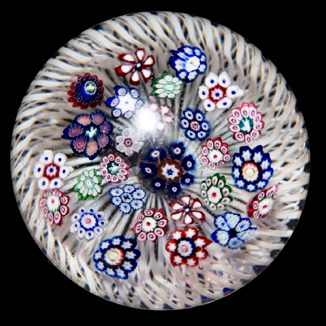 ANTIQUE BACCARAT MILLEFIORI AND SWIRLED BASKET