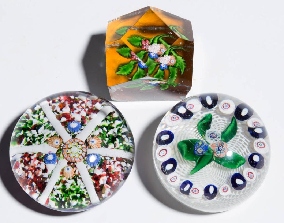 ANTIQUE ST. LOUIS MILLEFIORI PAPERWEIGHTS, LOT OF THREE