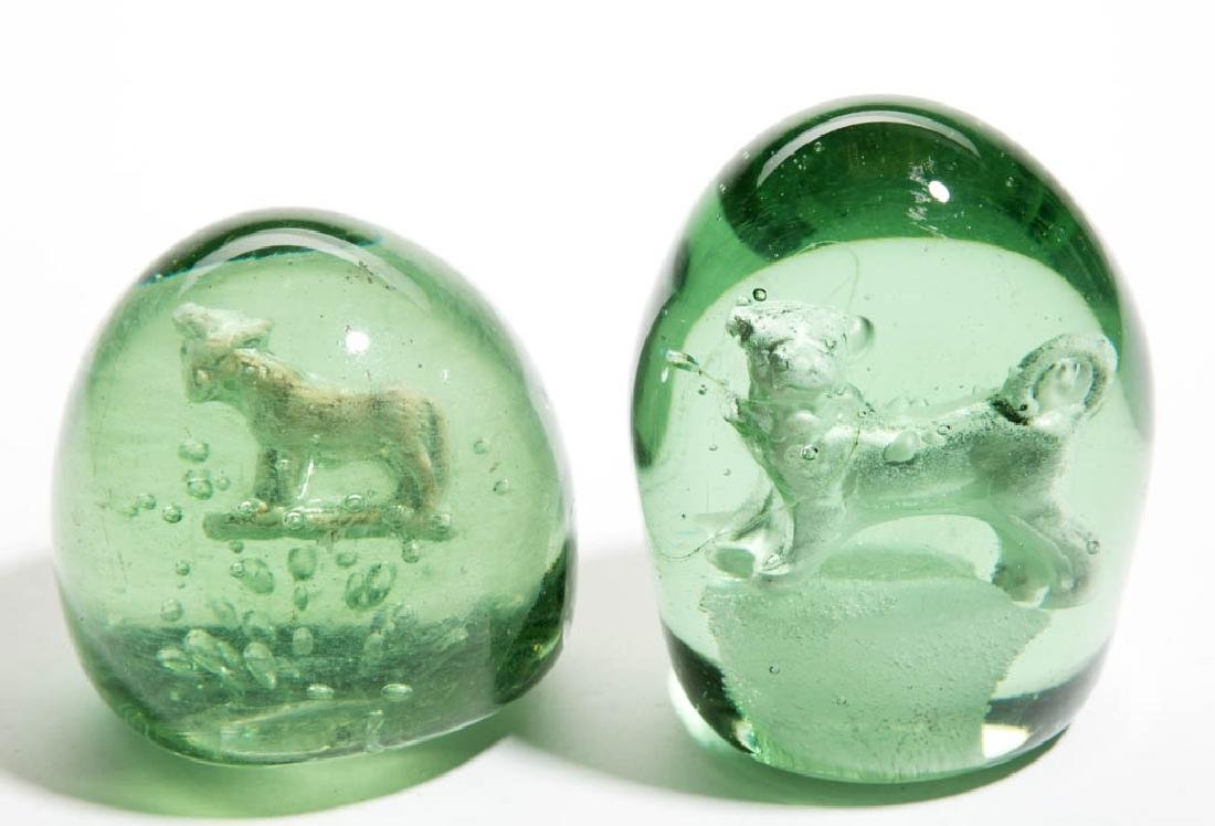 ANTIQUE VICTORIAN SULPHIDE DUMP PAPERWEIGHTS, LOT OF