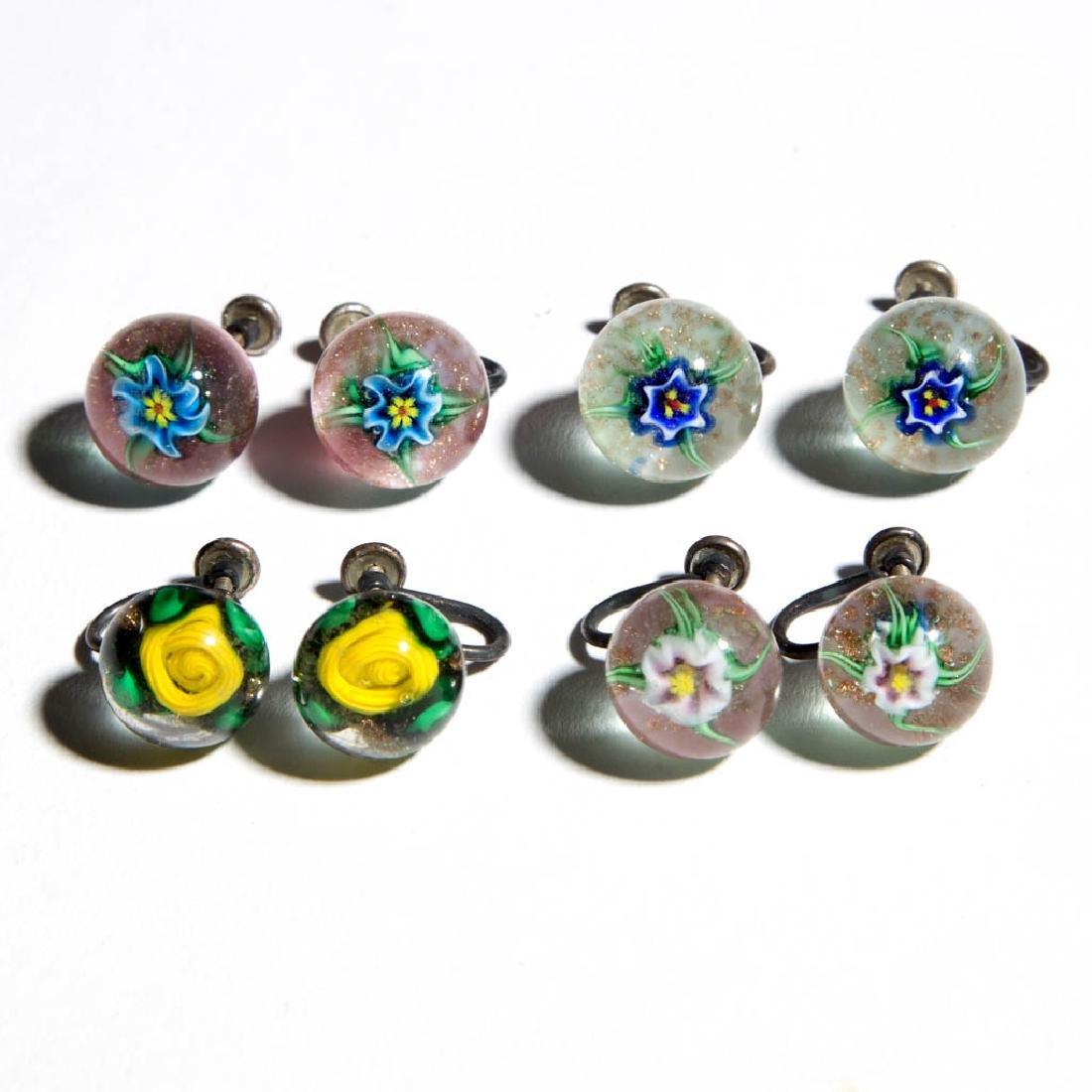 CHARLES KAZIUN STUDIO ART GLASS PAPERWEIGHT EARRINGS,