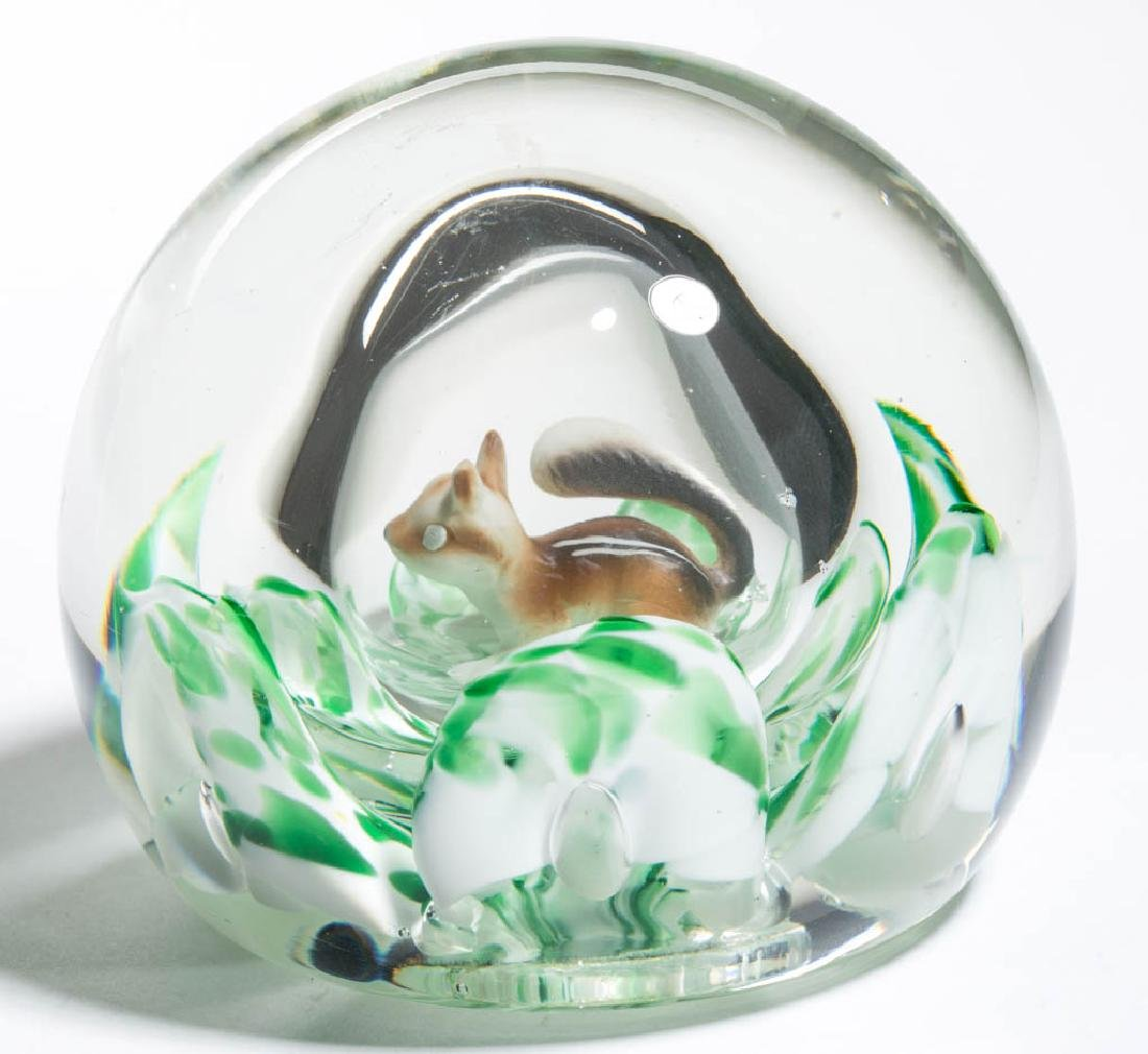 JOE ZIMMERMAN STUDIO ART GLASS AIR-TRAP PAPERWEIGHT