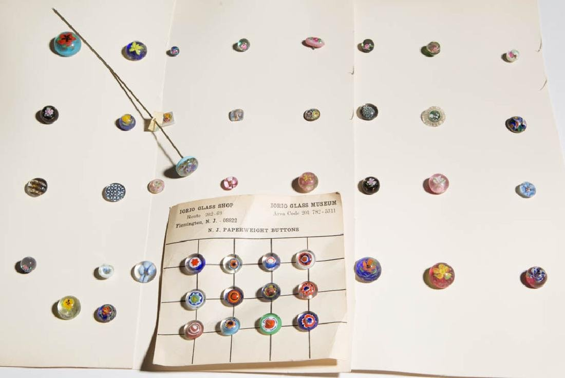 ASSORTED PAPERWEIGHT BUTTONS AND EARRINGS, LOT OF 44
