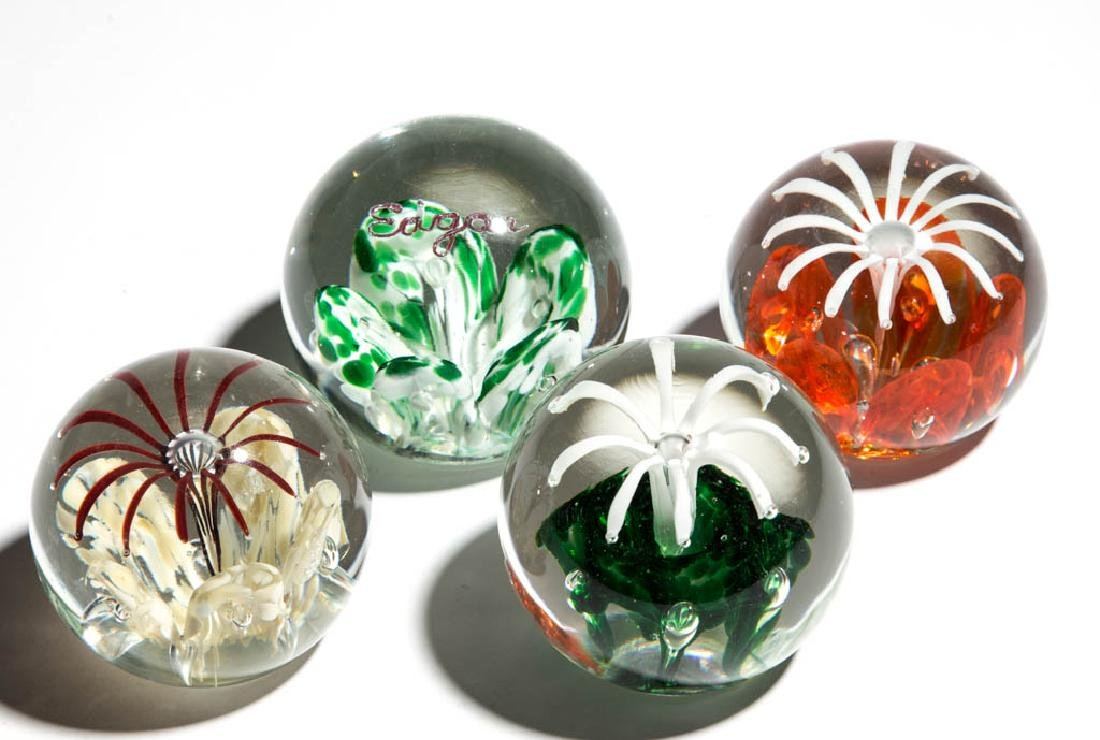 ASSORTED JOE ZIMMERMAN PAPERWEIGHTS, LOT OF FOUR