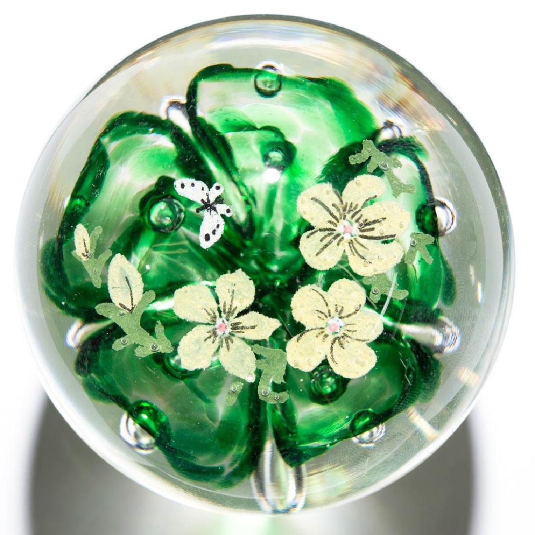 JOE ZIMMERMAN FLOWER AND BUTTERFLY PAPERWEIGHT